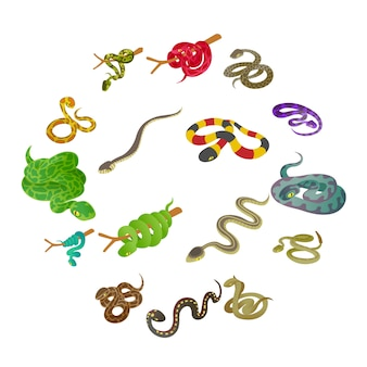 Jeu d'icônes de serpent, style isométrique
