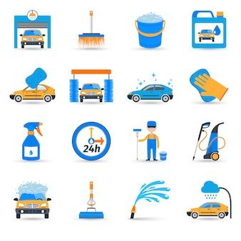 Jeu d'icônes de service de lavage de voiture