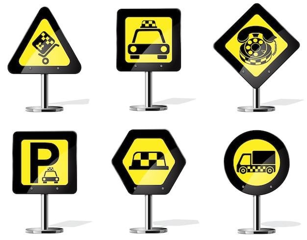 Jeu d'icônes de services de taxi. panneau d'avertissement jaune de route