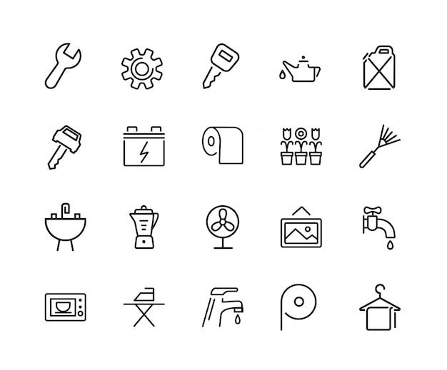 Jeu d'icônes de serviettes et outils