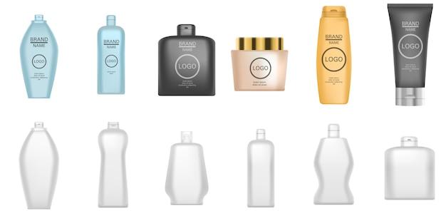 Jeu d'icônes de shampooing. ensemble réaliste d'icônes vectorielles shampooing pour la conception web isolée sur fond blanc
