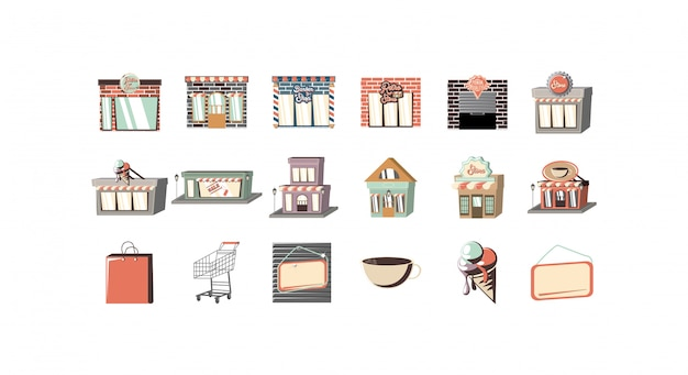Jeu d'icônes de shopping et de commerce électronique isolé