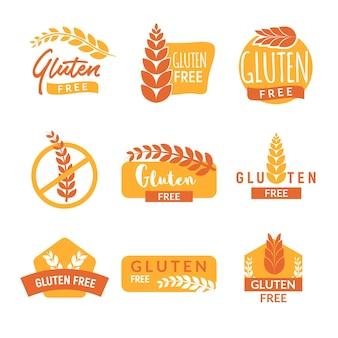 Jeu d'icônes de signe isolé dessiné sans gluten. symbole de lettrage sain sans gluten.