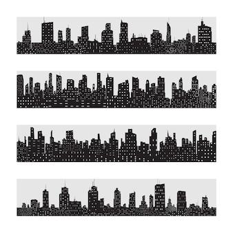 Jeu d'icônes de silhouette de ville noire isolé