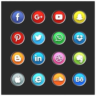 Jeu d'icônes sociales
