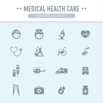 Le jeu d'icônes de soins de santé médicaux