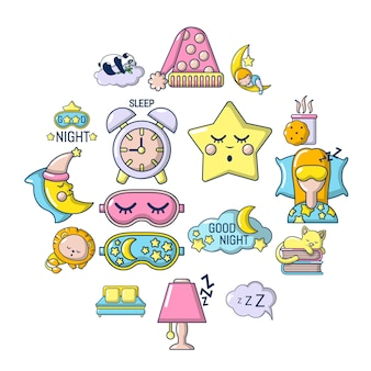 Jeu d'icônes de sommeil, style cartoon