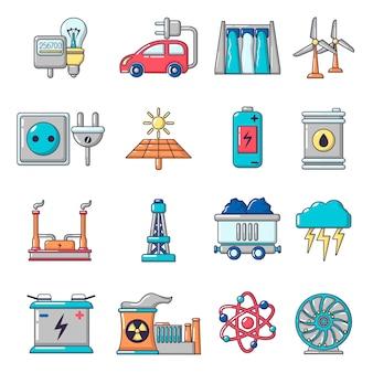 Jeu d'icônes de sources d'énergie