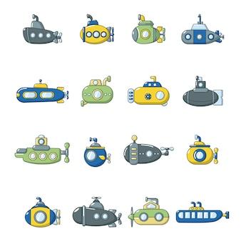 Jeu d'icônes sous-marins