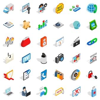 Jeu d'icônes de spam www, style isométrique