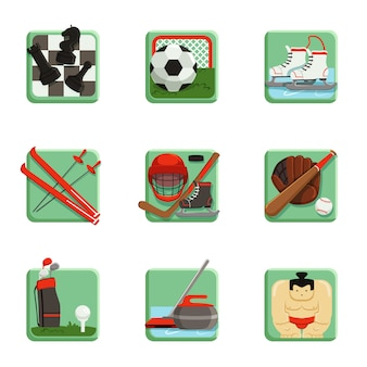 Jeu d'icônes de sport, échecs, baseball, football, hockey, golf, sumo, football, curling, ski et patinage illustrations sportives