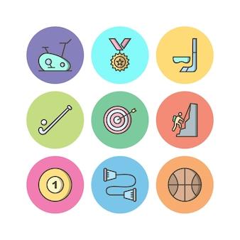 Jeu d'icônes de sports et de jeux à usage personnel et commercial