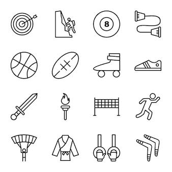 Jeu d'icônes de sports et de jeux