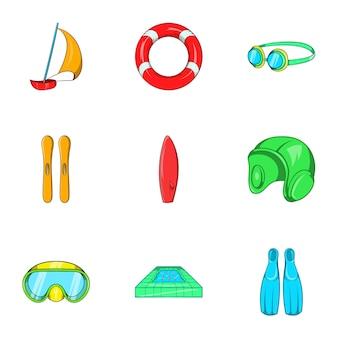Jeu d'icônes de sports nautiques, style cartoon