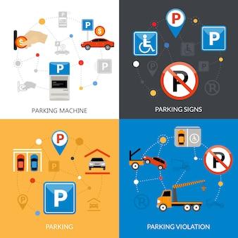 Jeu d'icônes de stationnement