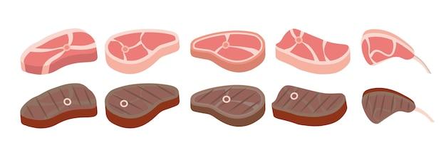 Jeu d'icônes de steak. jeu de dessin animé. dessin animé de steaks de boeuf. steak grillé, viandes de bœuf et filet mignon