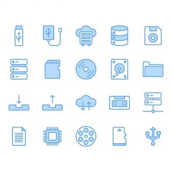 Jeu d'icônes de stockage de fichiers