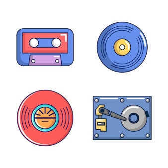 Jeu d'icônes de stockage d'informations. jeu de dessin animé d'icônes de vecteur de stockage d'informations mis isolé