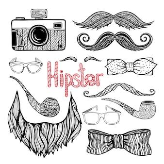 Jeu d'icônes de style hipster cheveux accessoires