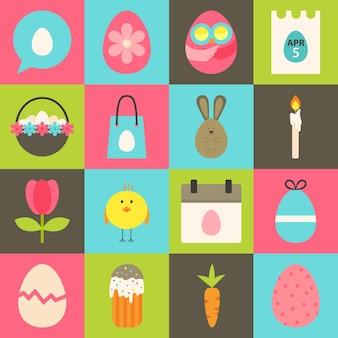 Jeu d'icônes stylisées plat de pâques 2. jeu d'icônes de pâques coloré de style plat