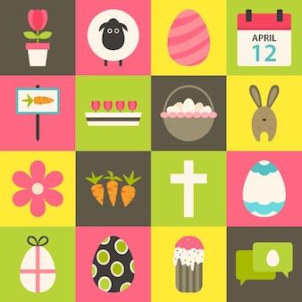 Jeu d'icônes stylisées plat de pâques 3. jeu d'icônes de pâques coloré de style plat