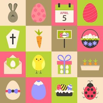 Jeu d'icônes stylisées plat de pâques 4. jeu d'icônes de pâques coloré de style plat