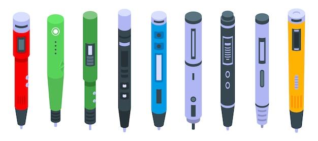 Jeu d'icônes de stylo 3d
