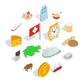 Jeu d'icônes de la suisse, style isométrique