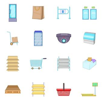Jeu d'icônes de supermarché