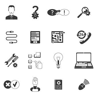 Jeu d'icônes de support noir et blanc