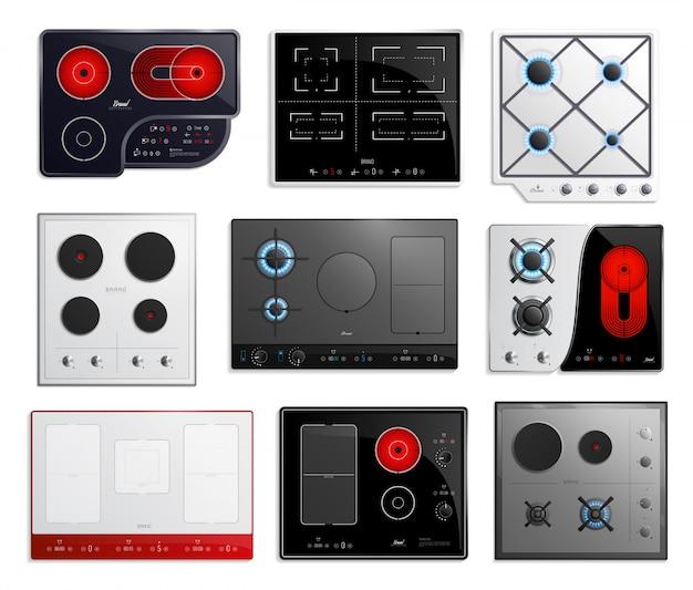 Jeu d'icônes de surfaces de table de cuisson