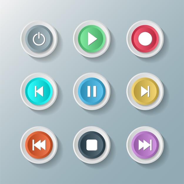 Jeu d'icônes de symbole media player contrôle boutons ronds blancs