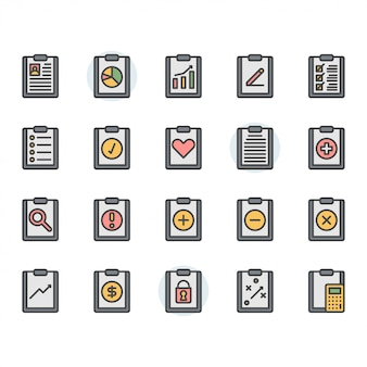 Jeu d'icônes et de symboles associés au presse-papiers