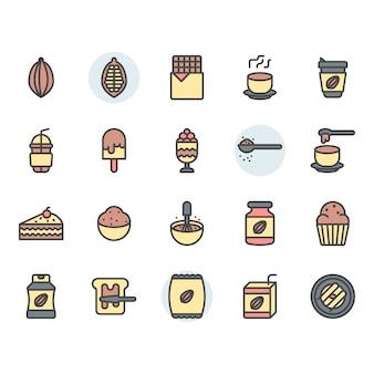 Jeu d'icônes et de symboles de cacao