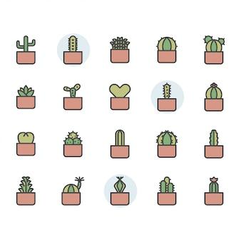 Jeu d'icônes et de symboles de cactus