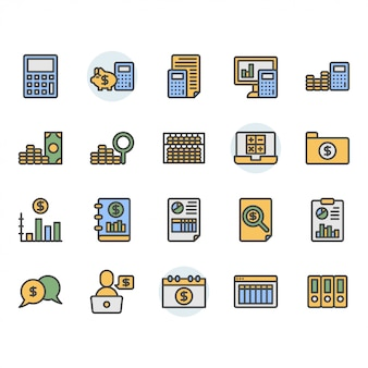 Jeu d'icônes et de symboles liés à la comptabilité