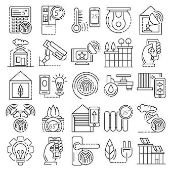 Jeu d'icônes de système de bâtiment intelligent. ensemble de contour des icônes vectorielles du système de bâtiment intelligent