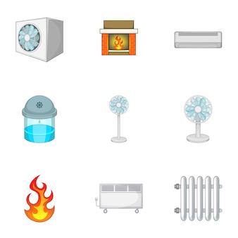Jeu d'icônes de système de chauffage, style cartoon