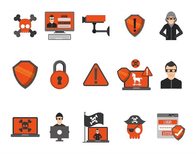 Jeu d'icônes de système de sécurité