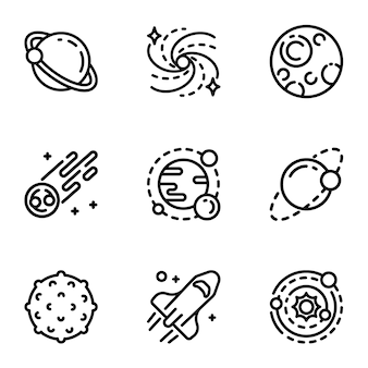 Jeu d'icônes de système solaire. ensemble de contour de 9 icônes du système solaire