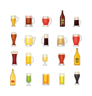 Jeu d'icônes de tasse de bière