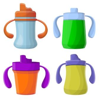 Jeu d'icônes de la tasse sippy, style cartoon
