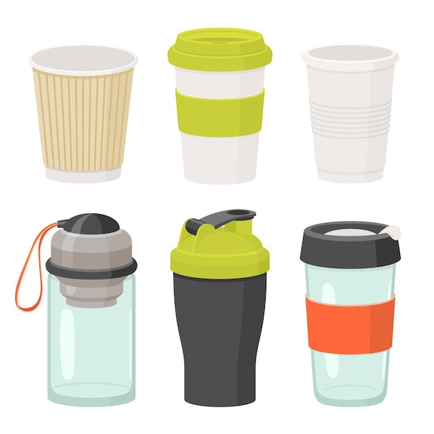 Jeu d'icônes de tasses et verres de boisson. illustration plate