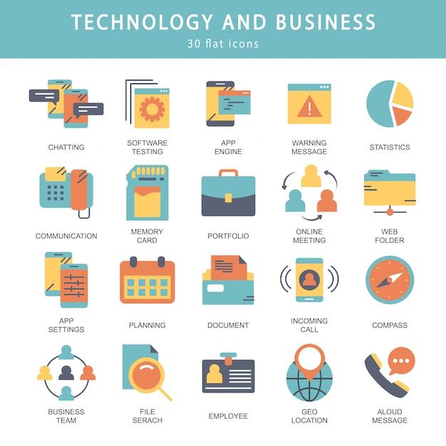 Jeu d'icônes de technologie et d'affaires