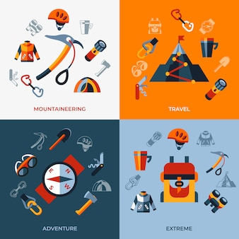 Jeu d'icônes de technologie d'alpinisme