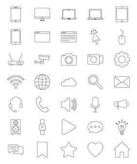 Jeu d'icônes de technologie et d'appareils numériques vectorielles.