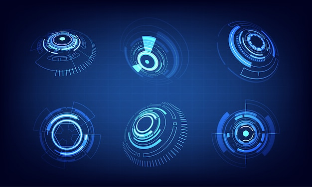 Jeu d'icônes technologie cercle