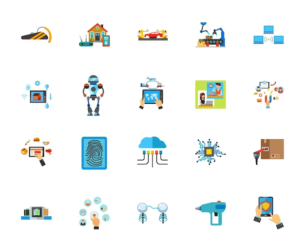 Jeu d'icônes de technologie innovante