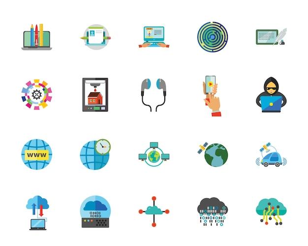 Jeu d'icônes de technologie internet