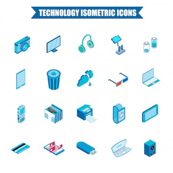 Jeu d'icônes de technologie isométrique 3d.